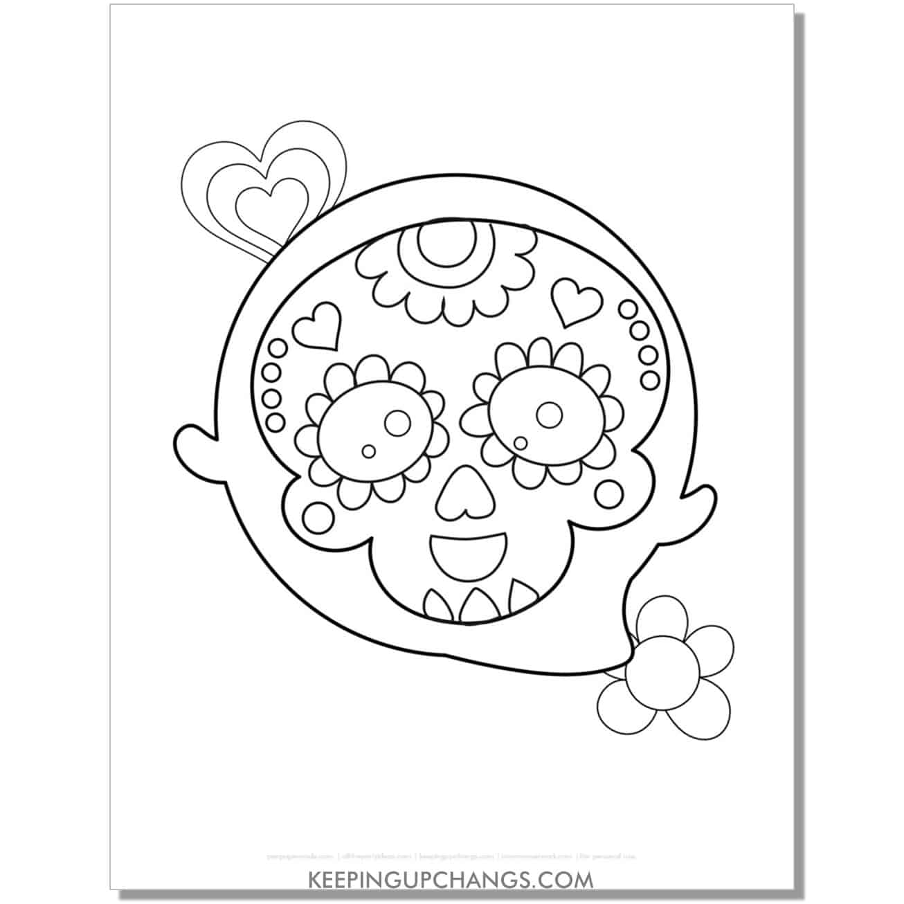 free cute sugar skull ghost coloring page.