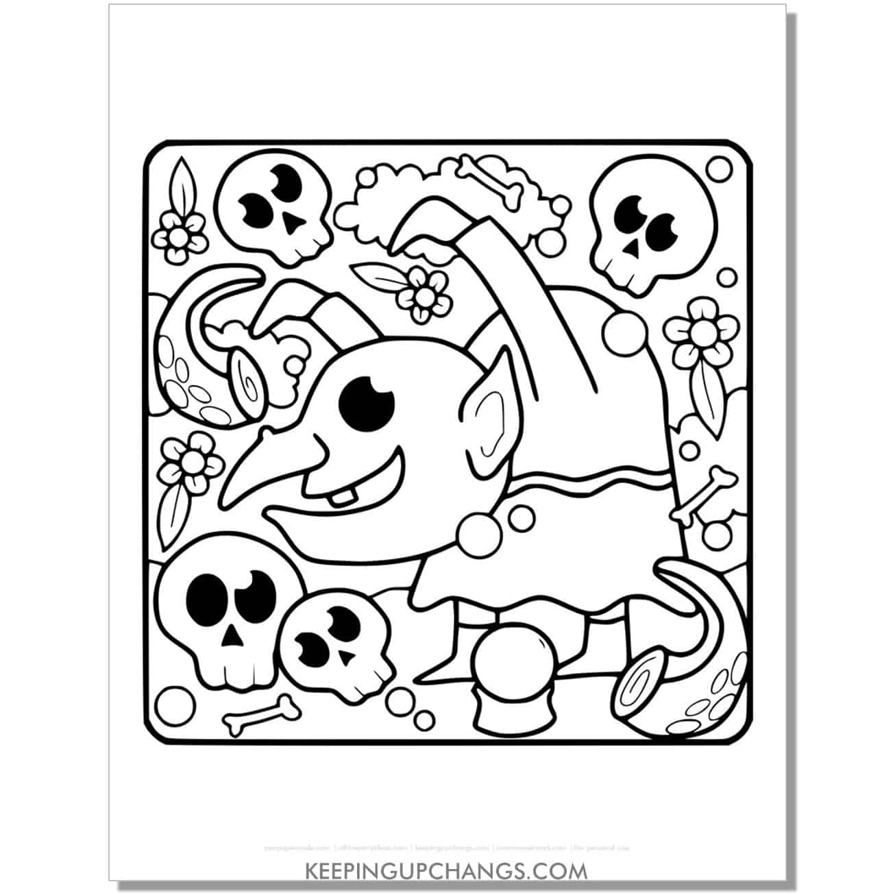 free halloween goblin with skulls coloring page.