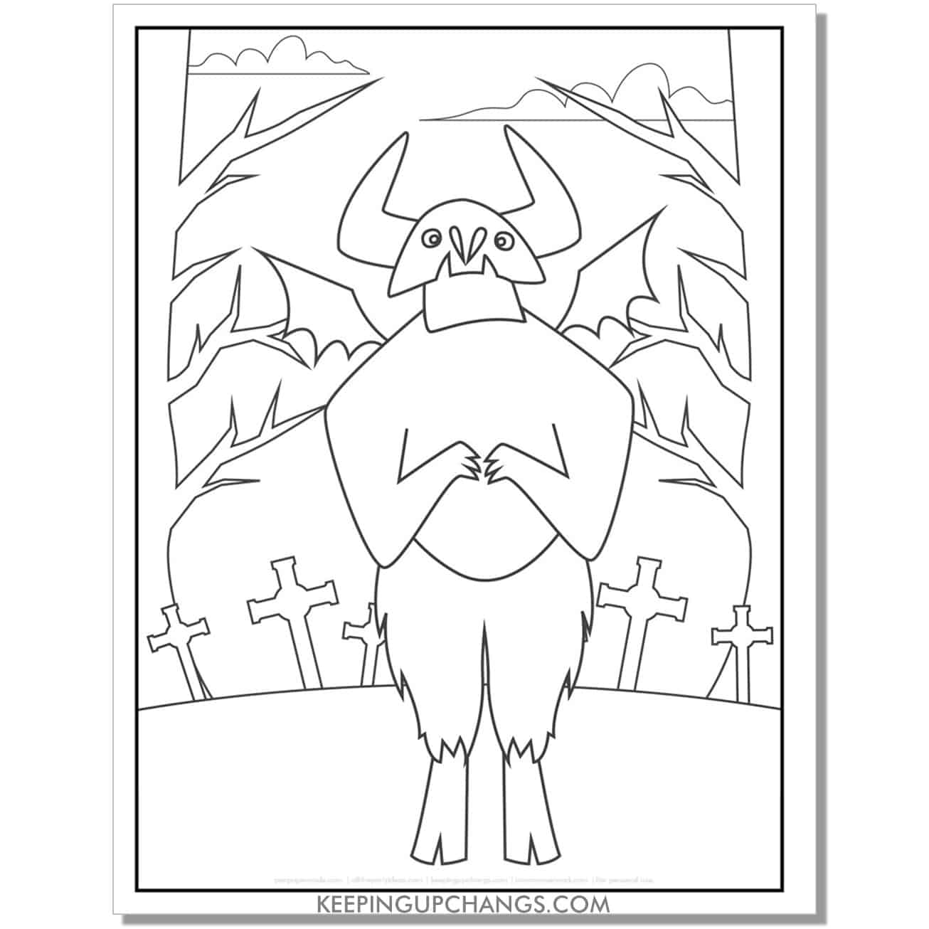 free halloween monster graves coloring page.