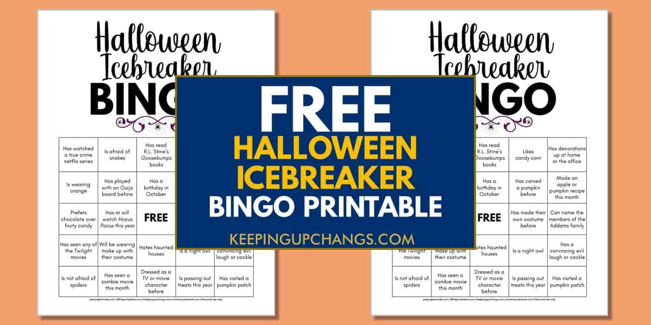 free halloween human icebreaker bingo for adult office parties, coworkers, etc.