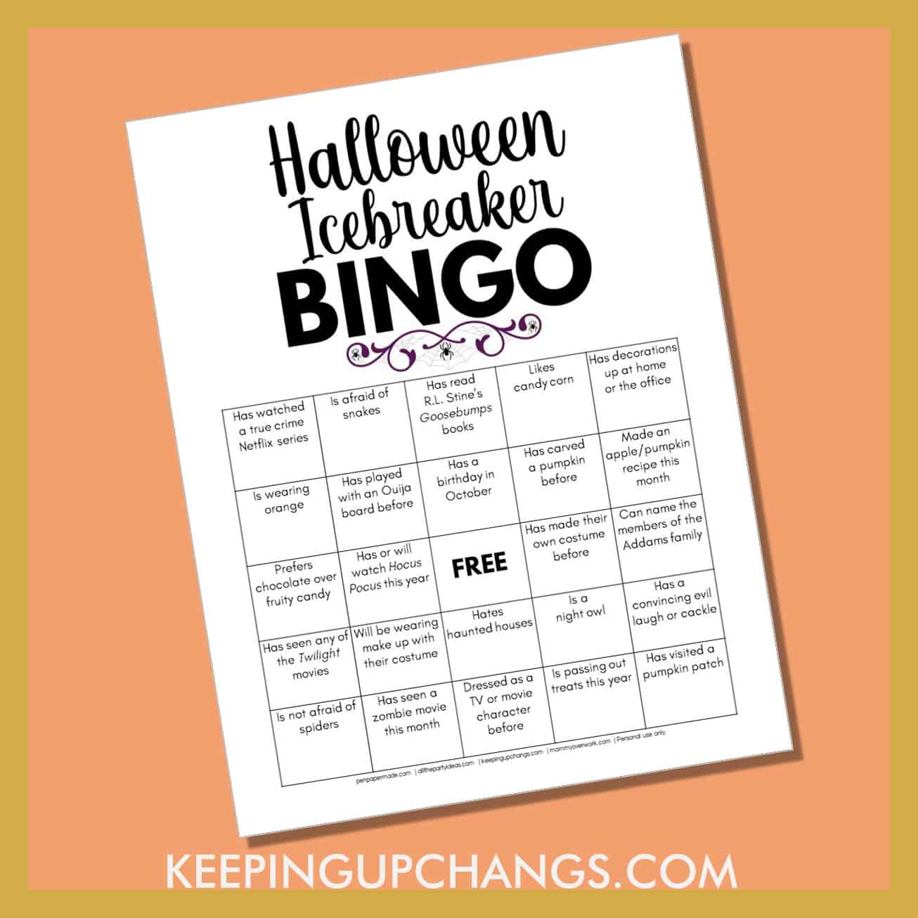 human halloween icebreaker bingo with fun getting to know you facts about the spooky holiday.