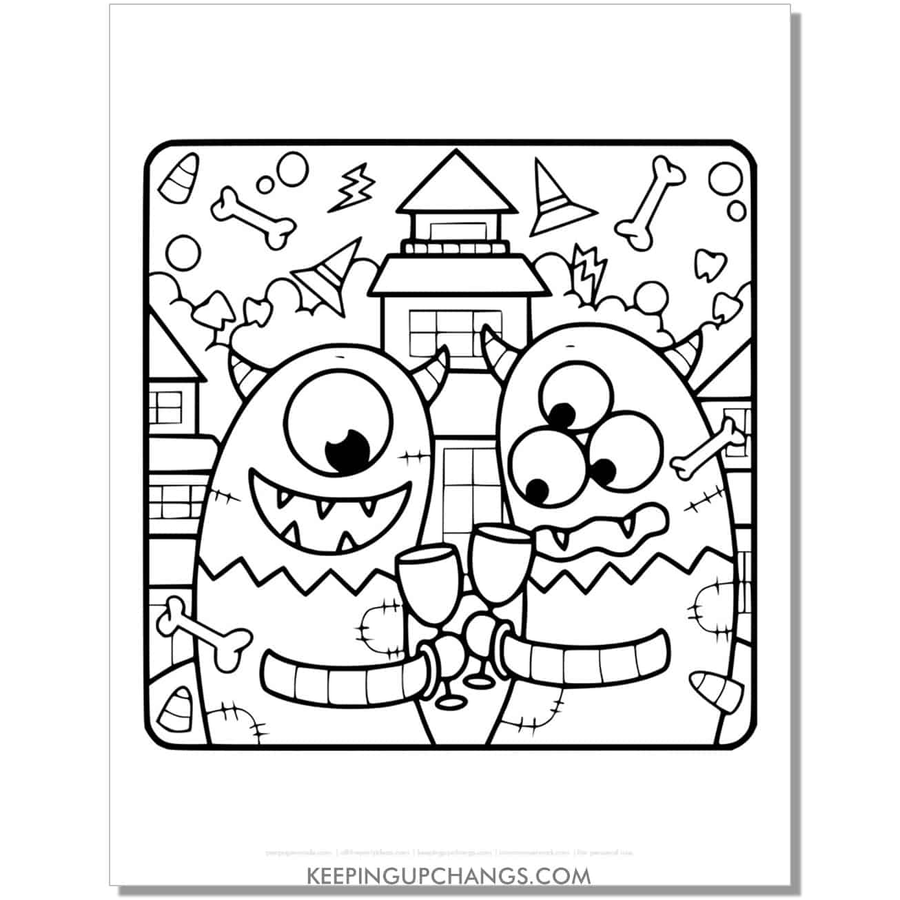 free halloween haunted house monster coloring page.