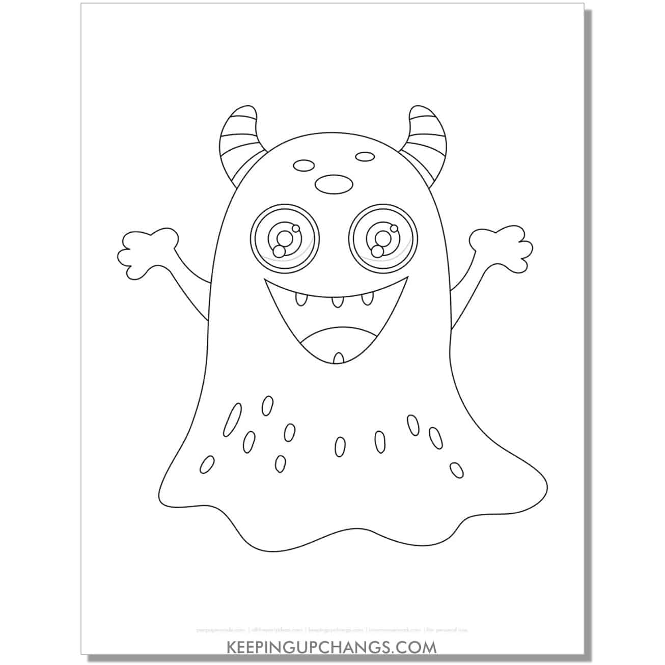 free monster no legs coloring page.