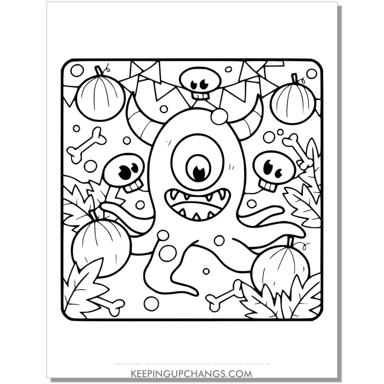 free halloween pumpkin monster coloring page.