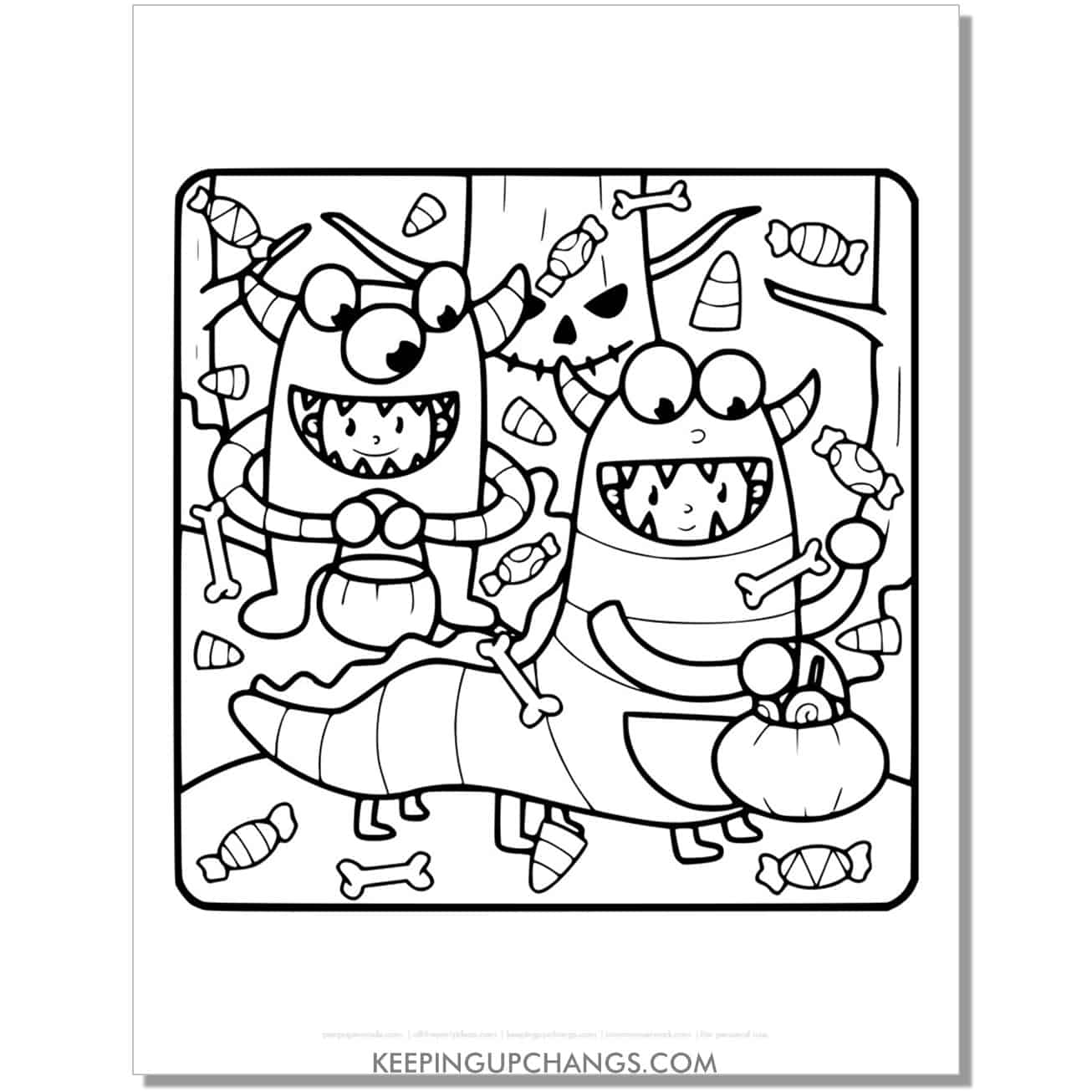 free kids in halloween costume monster coloring page.