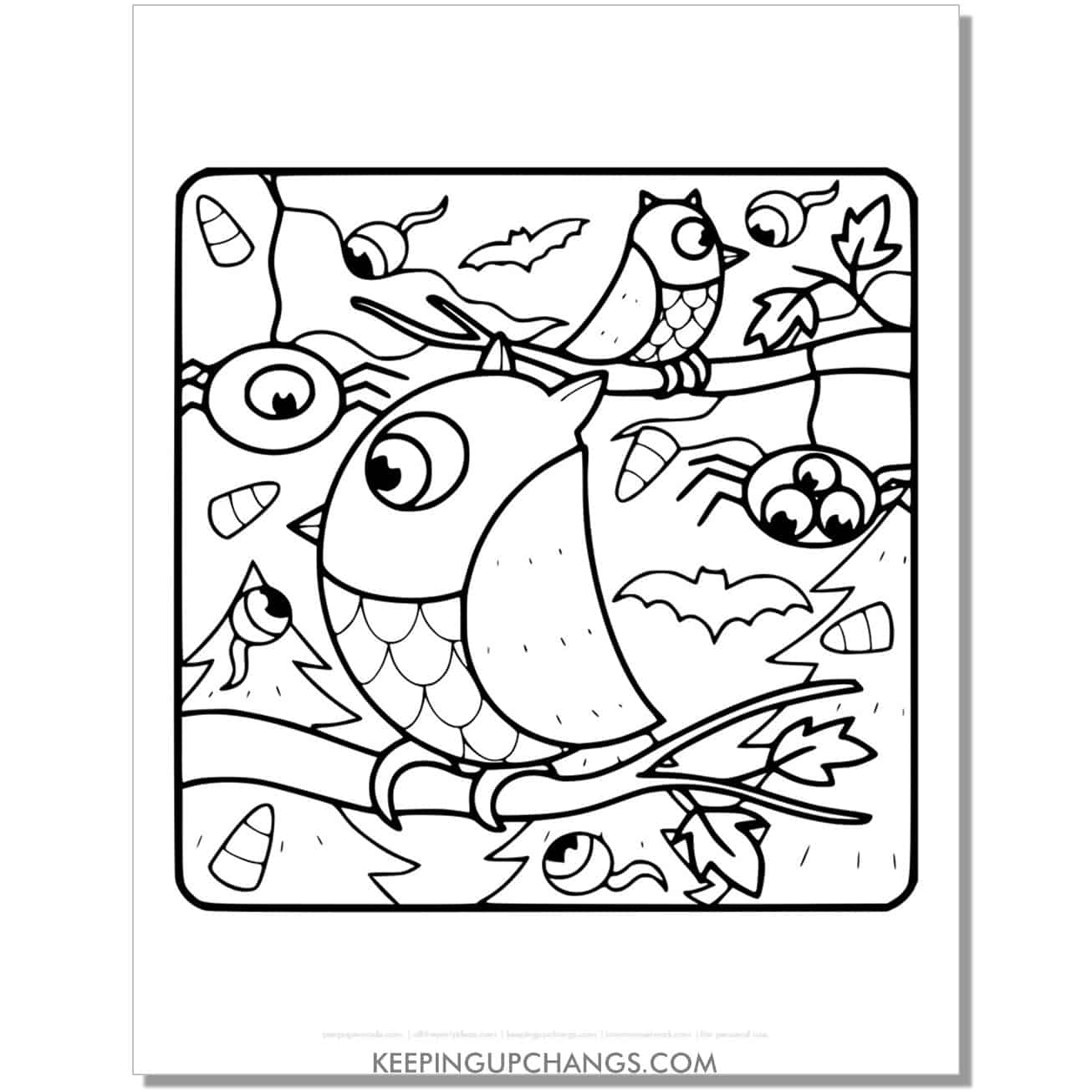 free halloween owls with spiders and eyeballs coloring page.