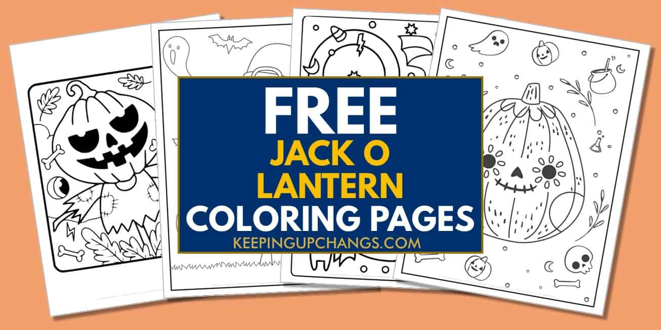 spread of free halloween pumpkin coloring pages.