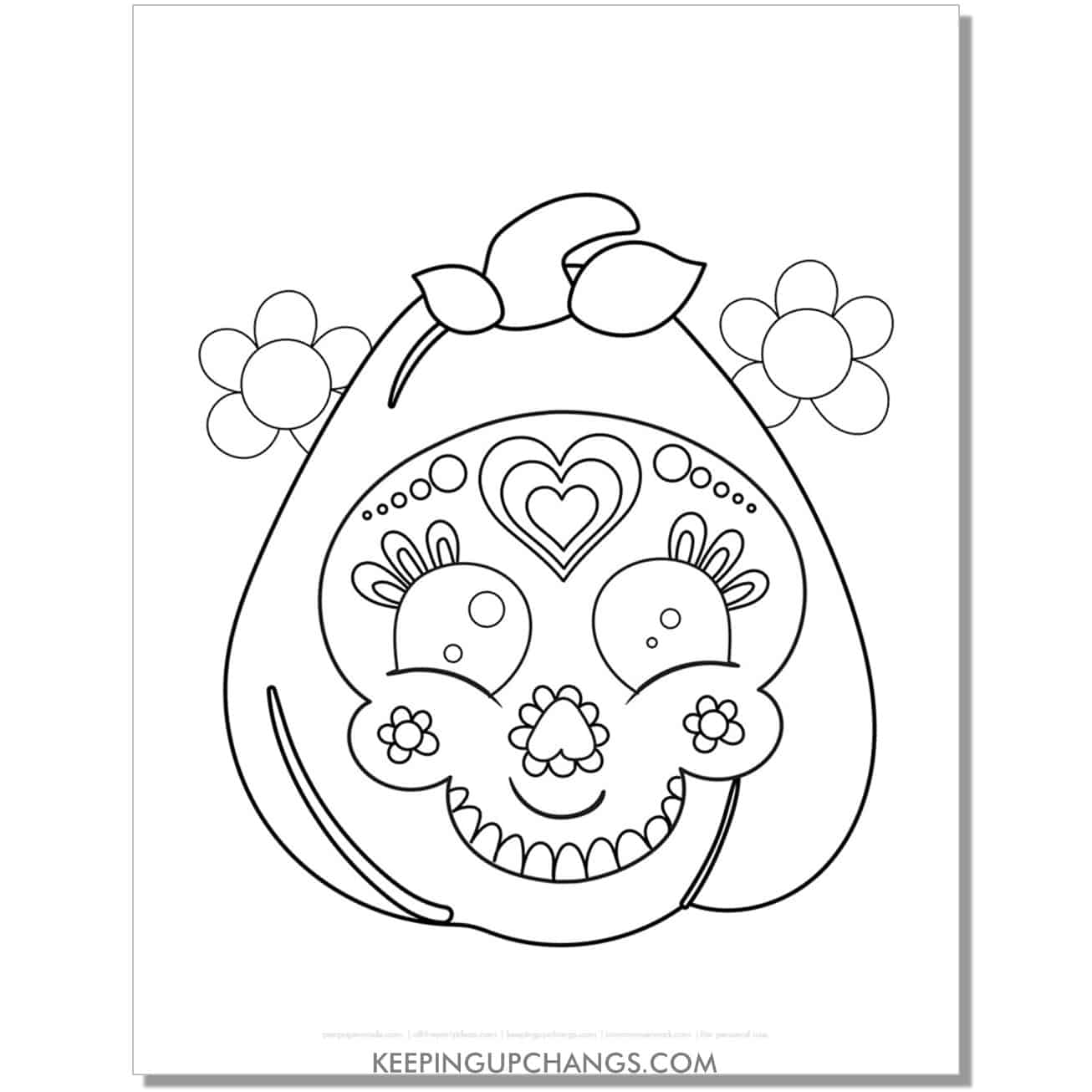 free day of the dead halloween pumpkin sugar skull coloring page.
