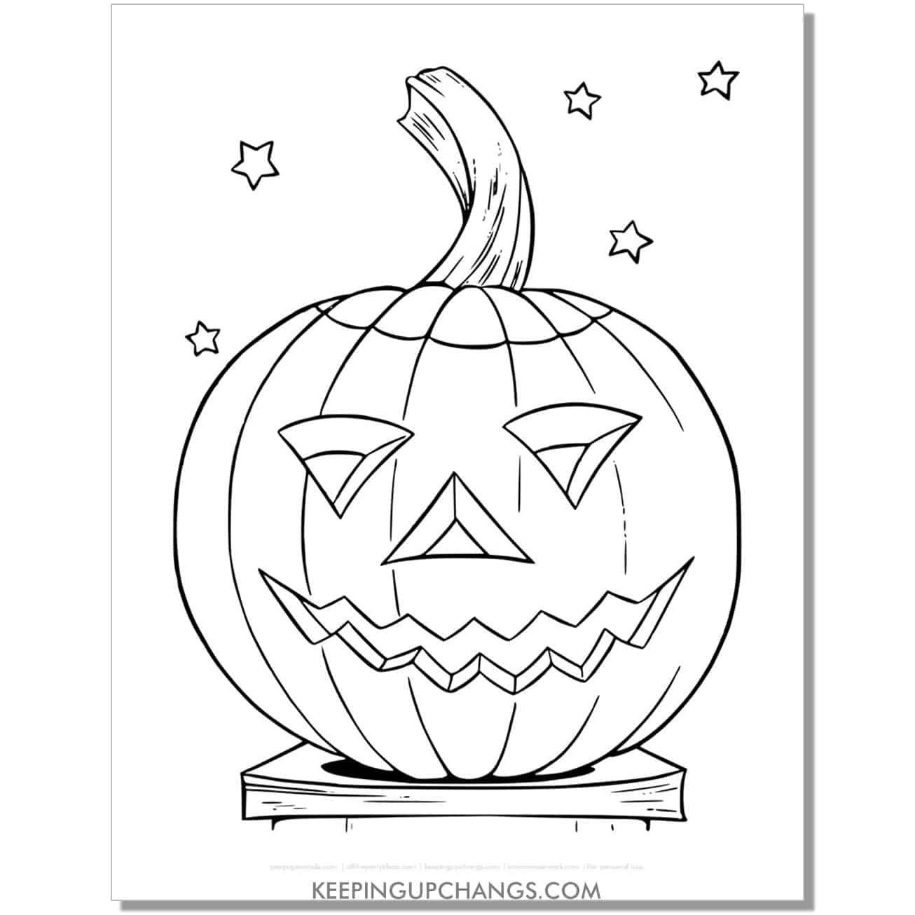 free hand drawn jack o lantern halloween pumpkin coloring page.