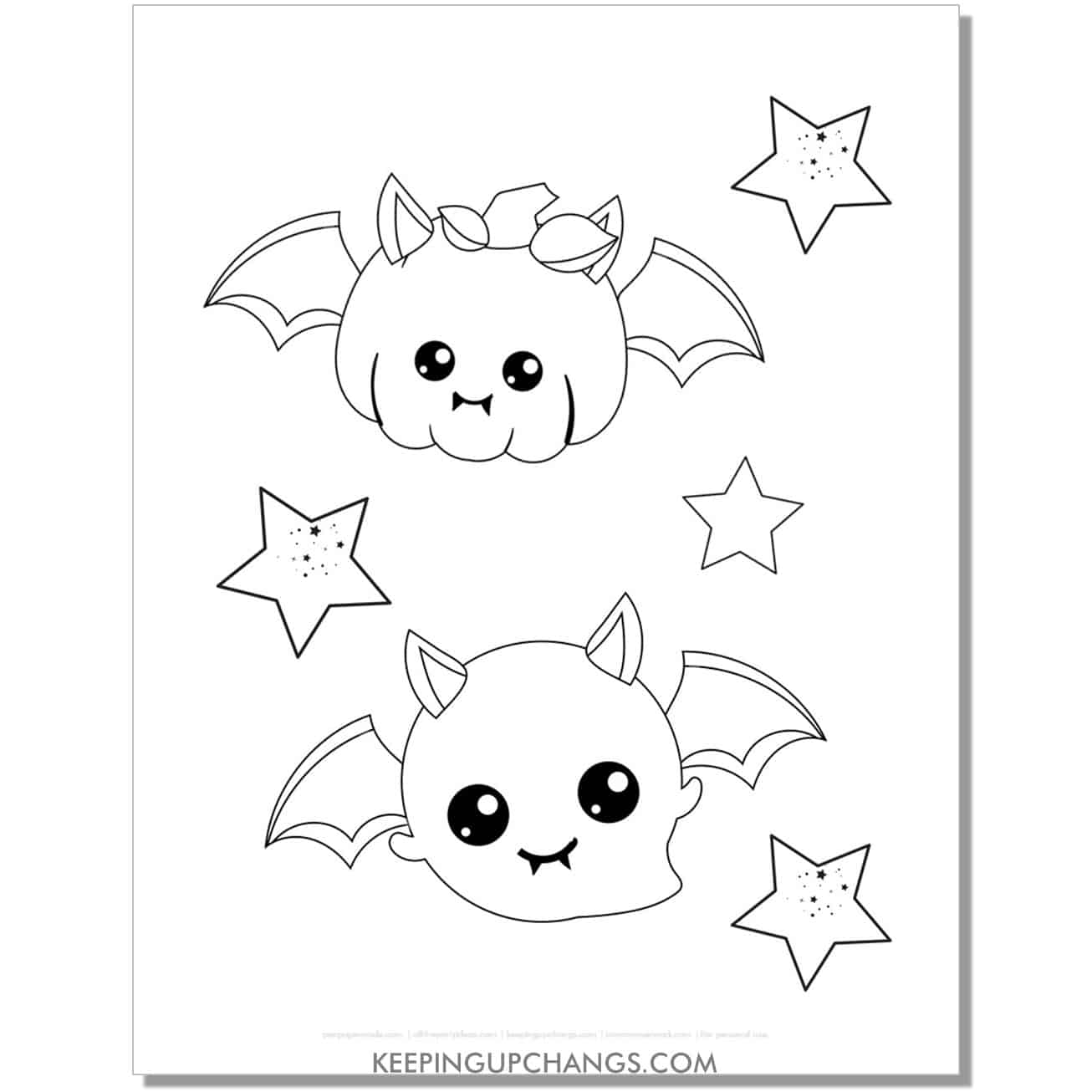 free kawaii pumpkin and ghost bat halloween coloring page for kids.