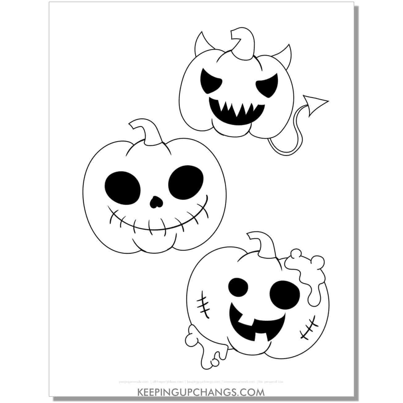 free devil, skeleton, zombie jack o lantern halloween pumpkin coloring page.