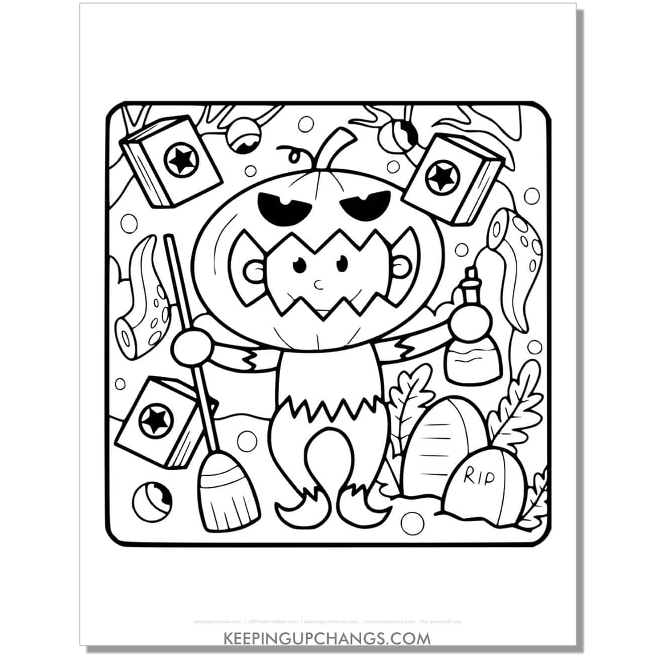 free halloween pumpkin costume for trick or treating coloring page.
