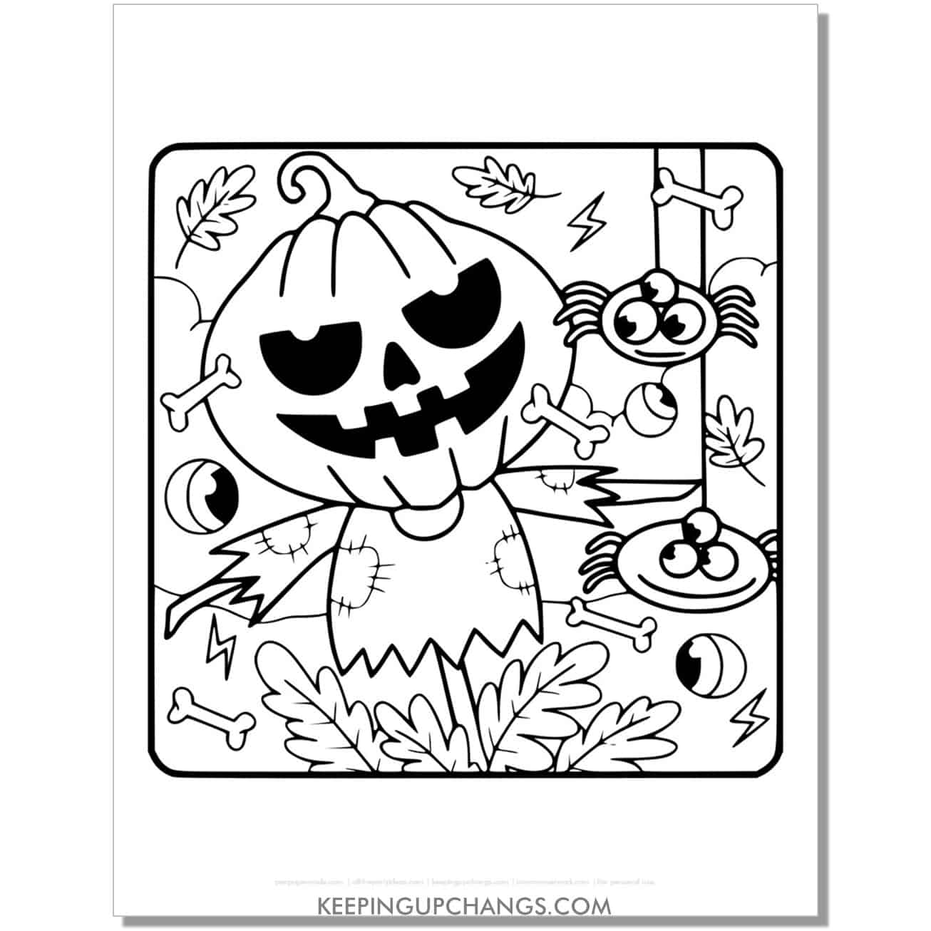 free halloween pumpkin scarecrow and spider coloring page.