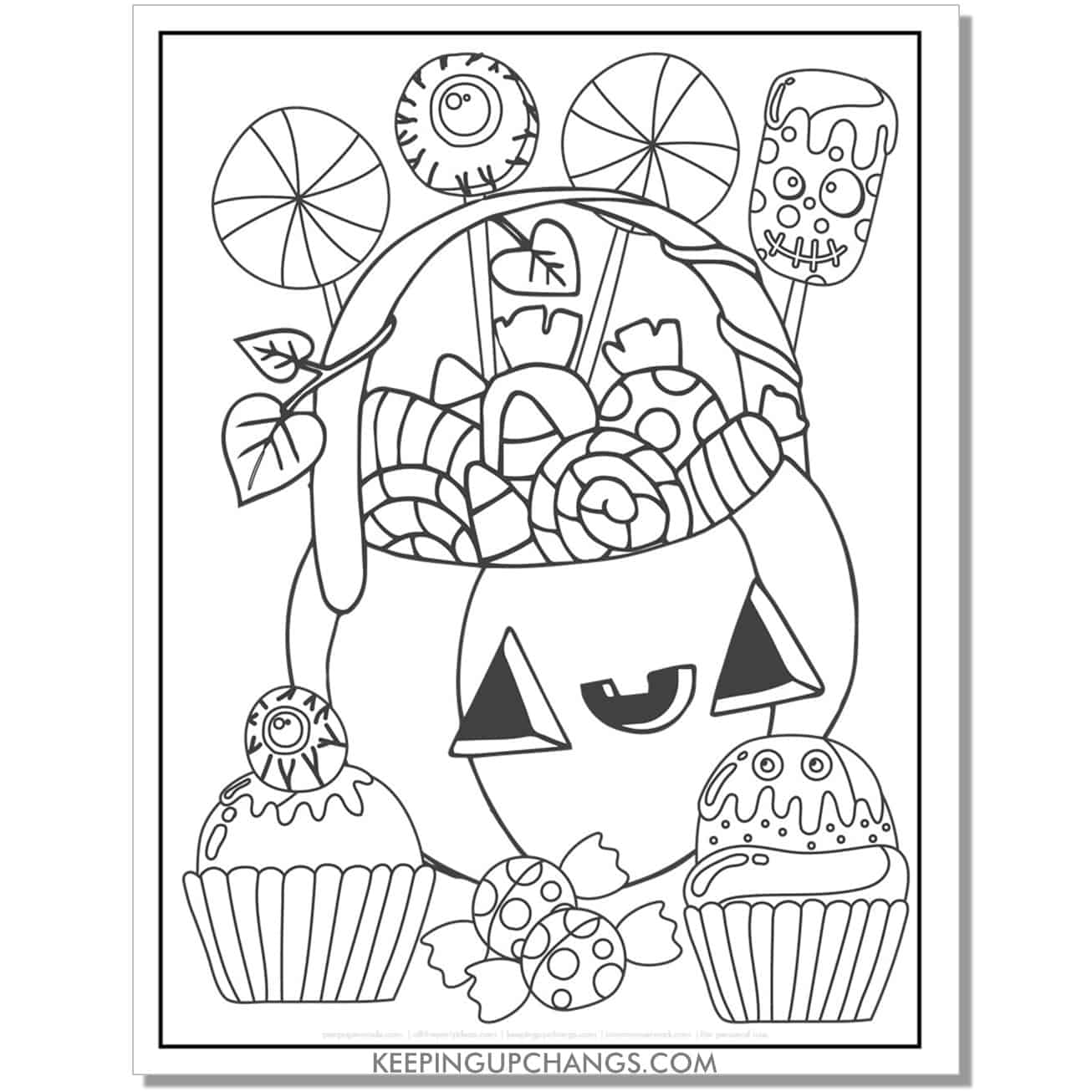 free cute halloween jack o lantern trick or treat candy and desserts full size coloring page.