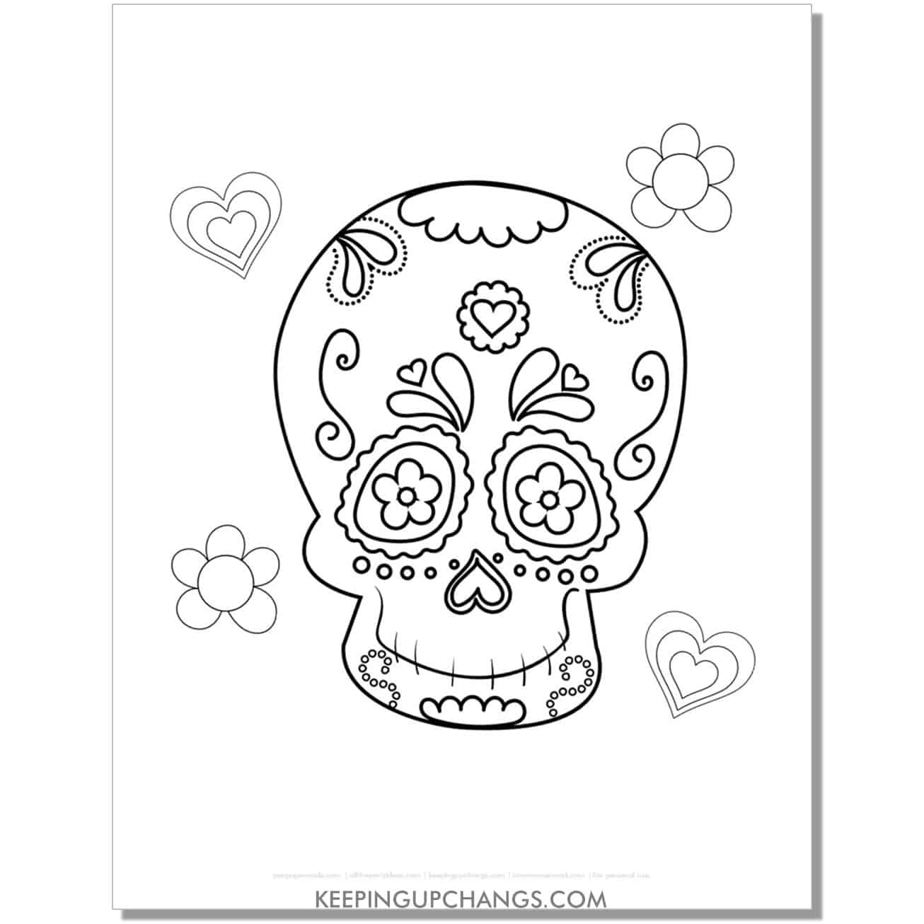 free day of the dead male sugar skull for kids coloring page.