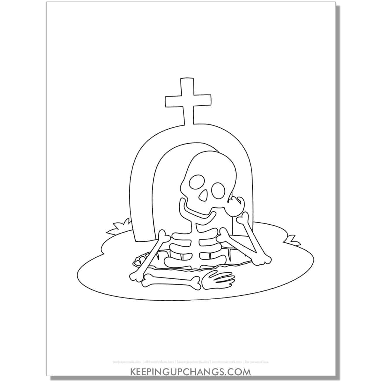 free friendly skeleton coming up from grave coloring page.