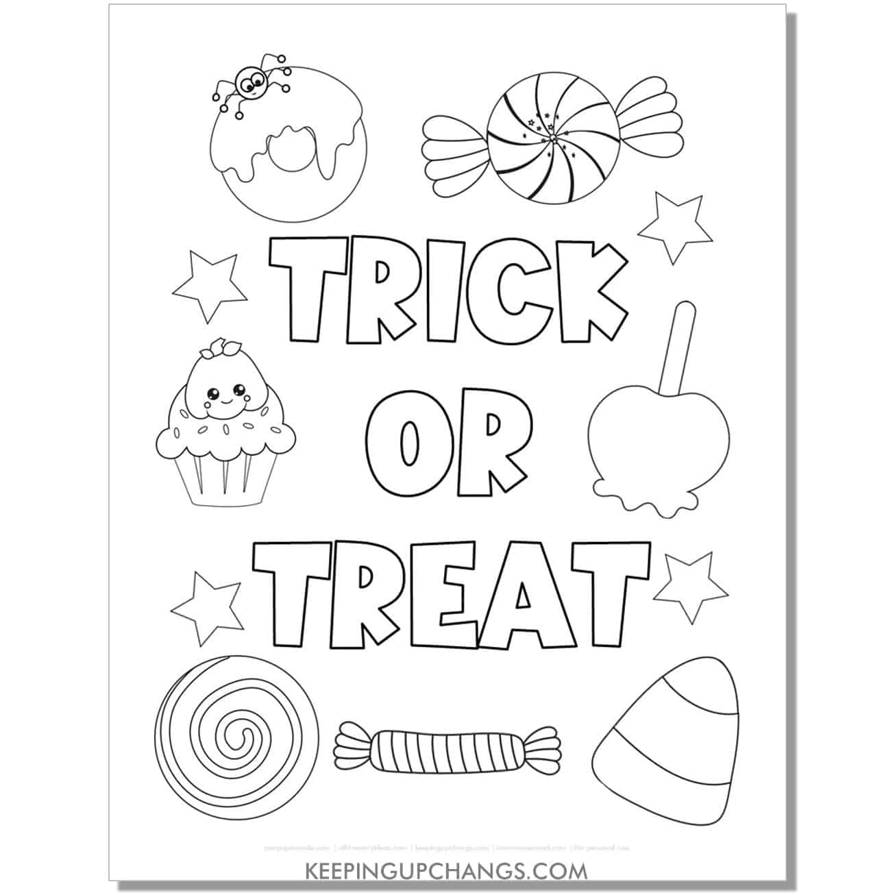 free trick or treat halloween coloring page with candy corn, spider, pumpkin.