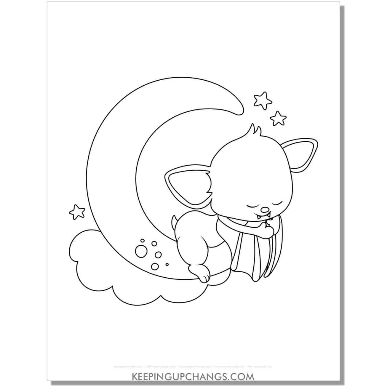 free adorable bat sleeping on moon coloring page.