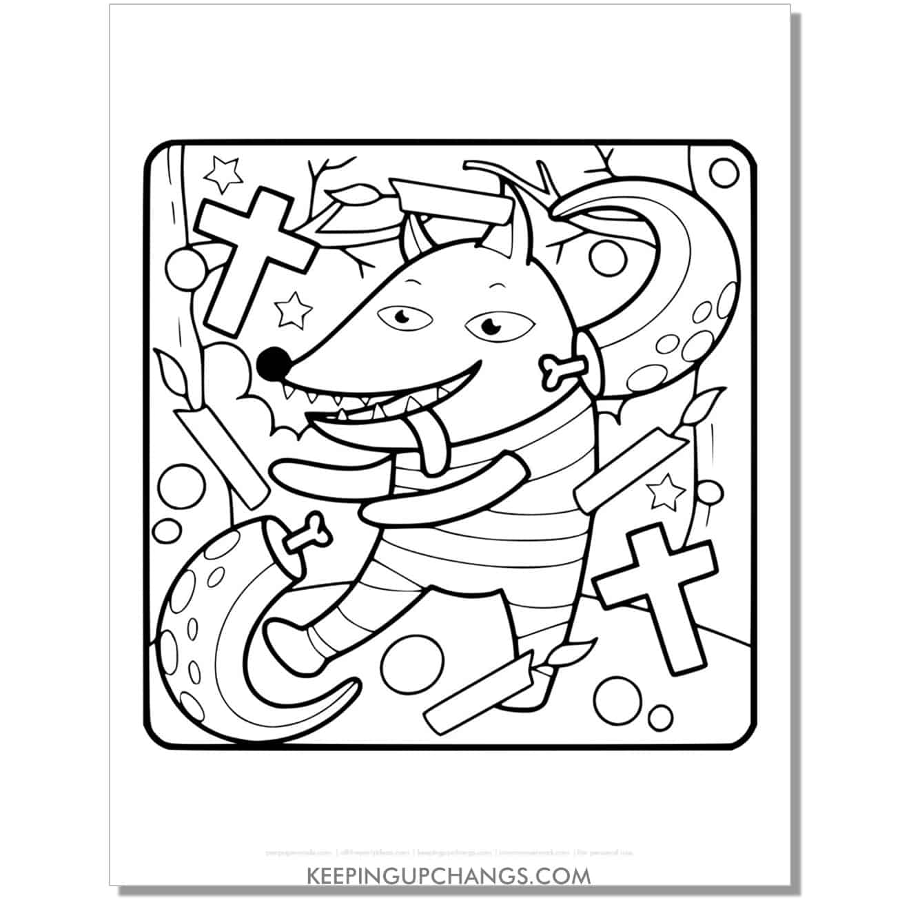 free halloween werewolf with cross and candles coloring page.