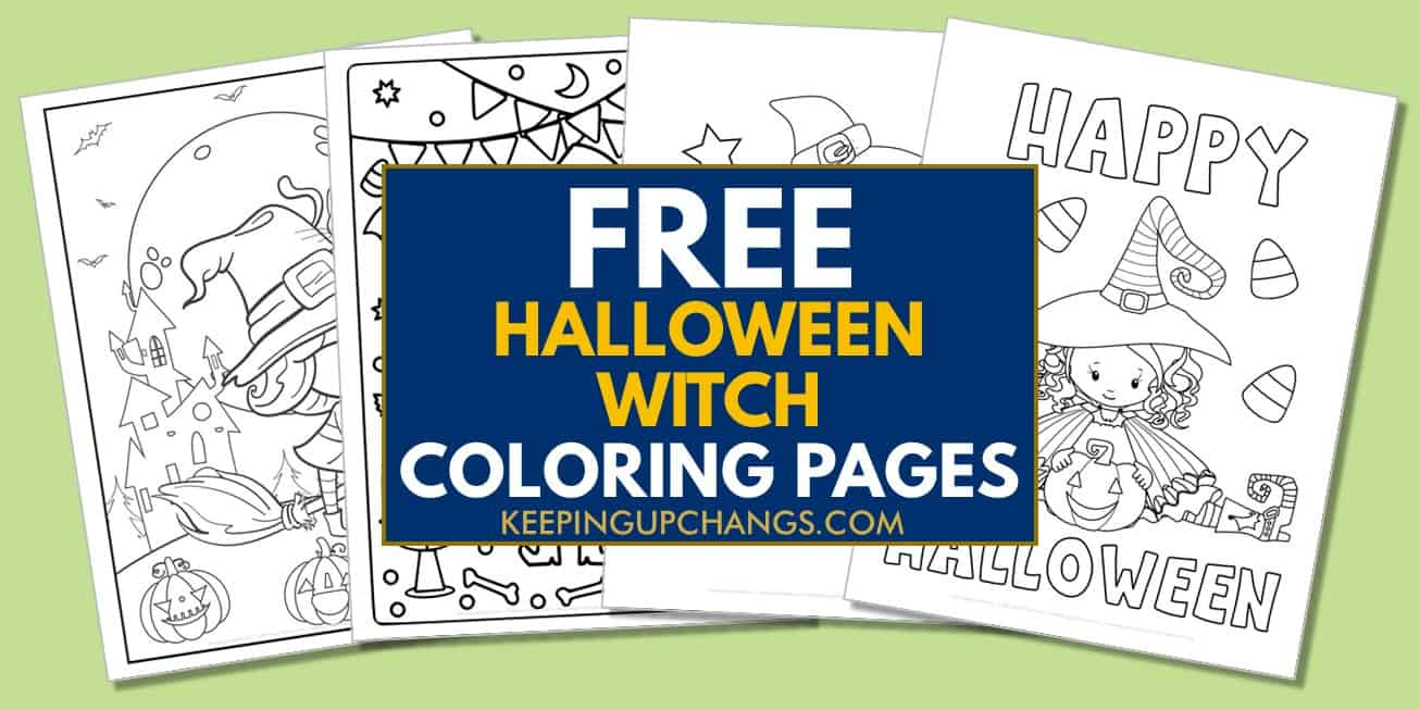 spread of free halloween witch coloring pages.
