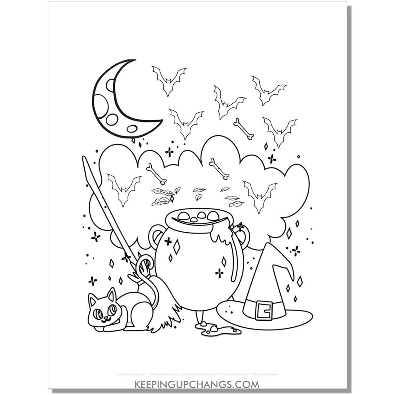 free halloween witch cauldron, hat, broom, bats, and cat coloring page.