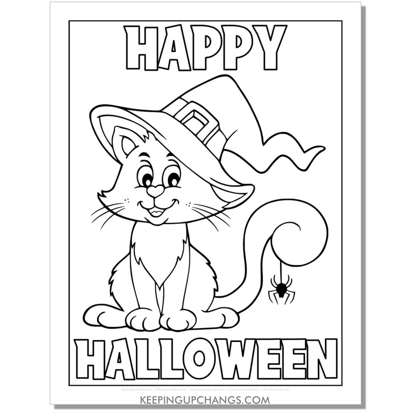 happy halloween cat with witch hat coloring page.