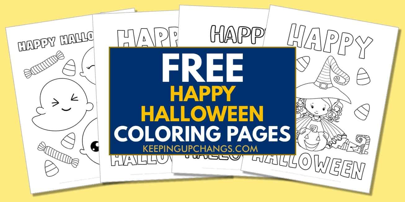 spread of free happy halloween coloring pages.