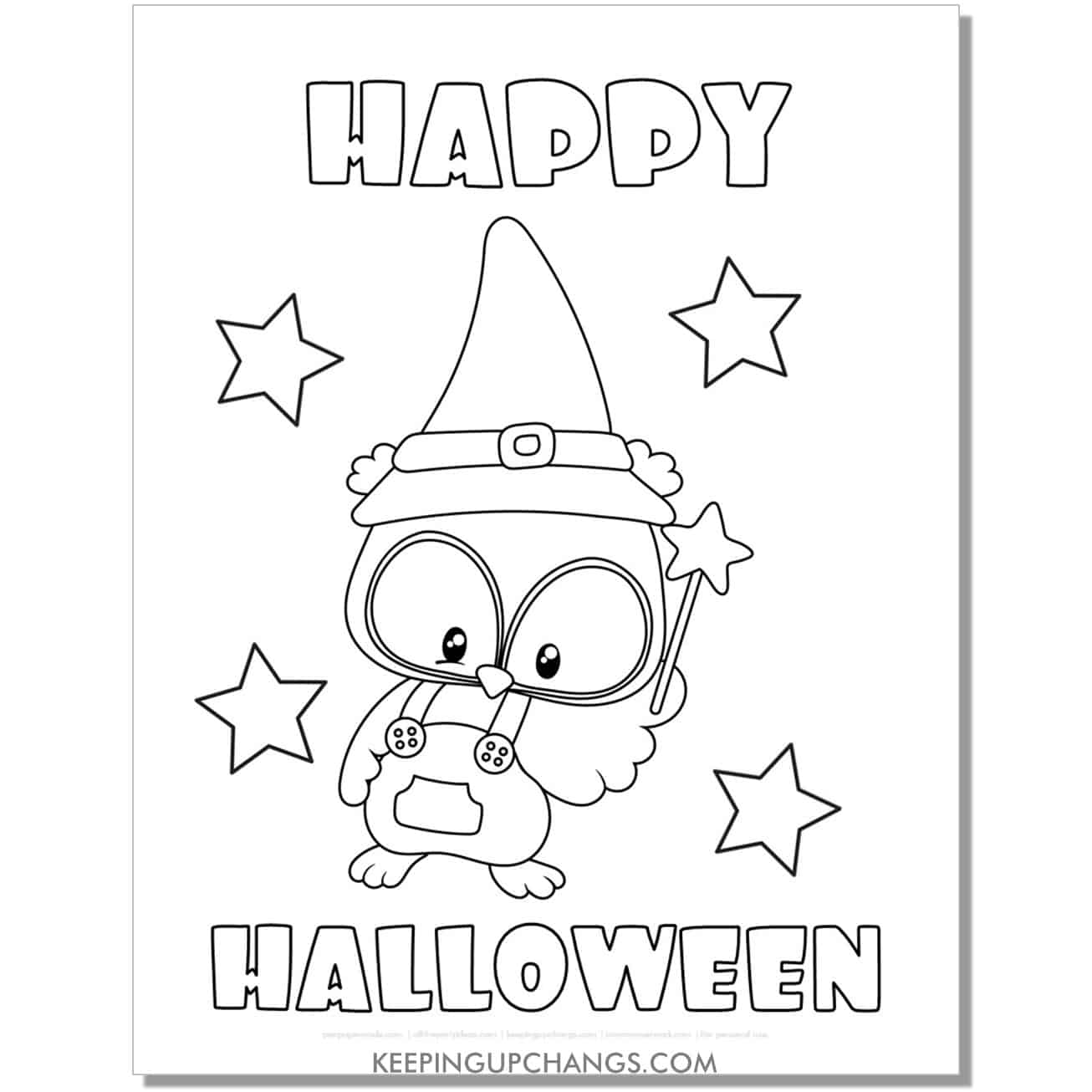 free owl wizard happy halloween coloring page.