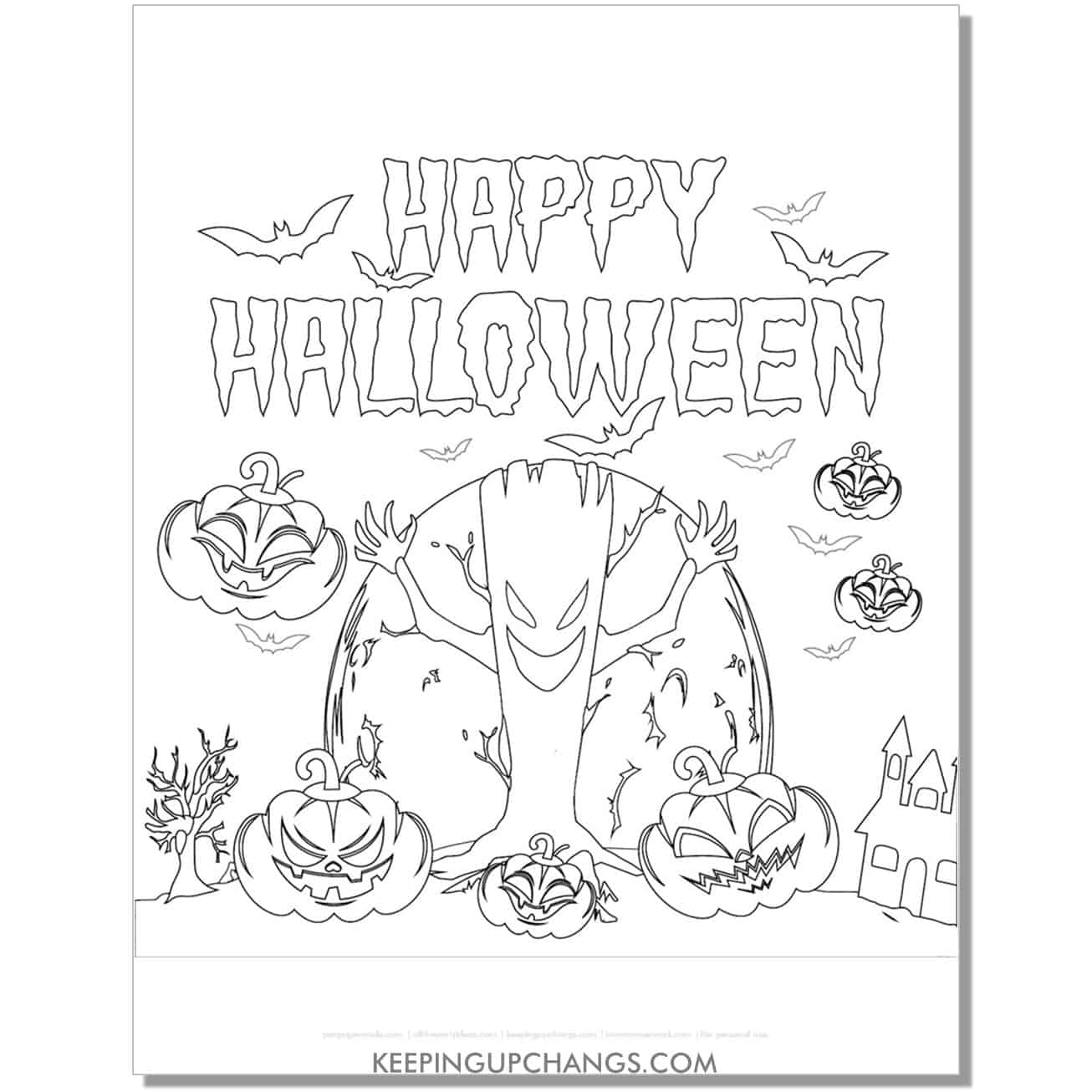 free happy halloween scary tree and jack o lantern coloring page.