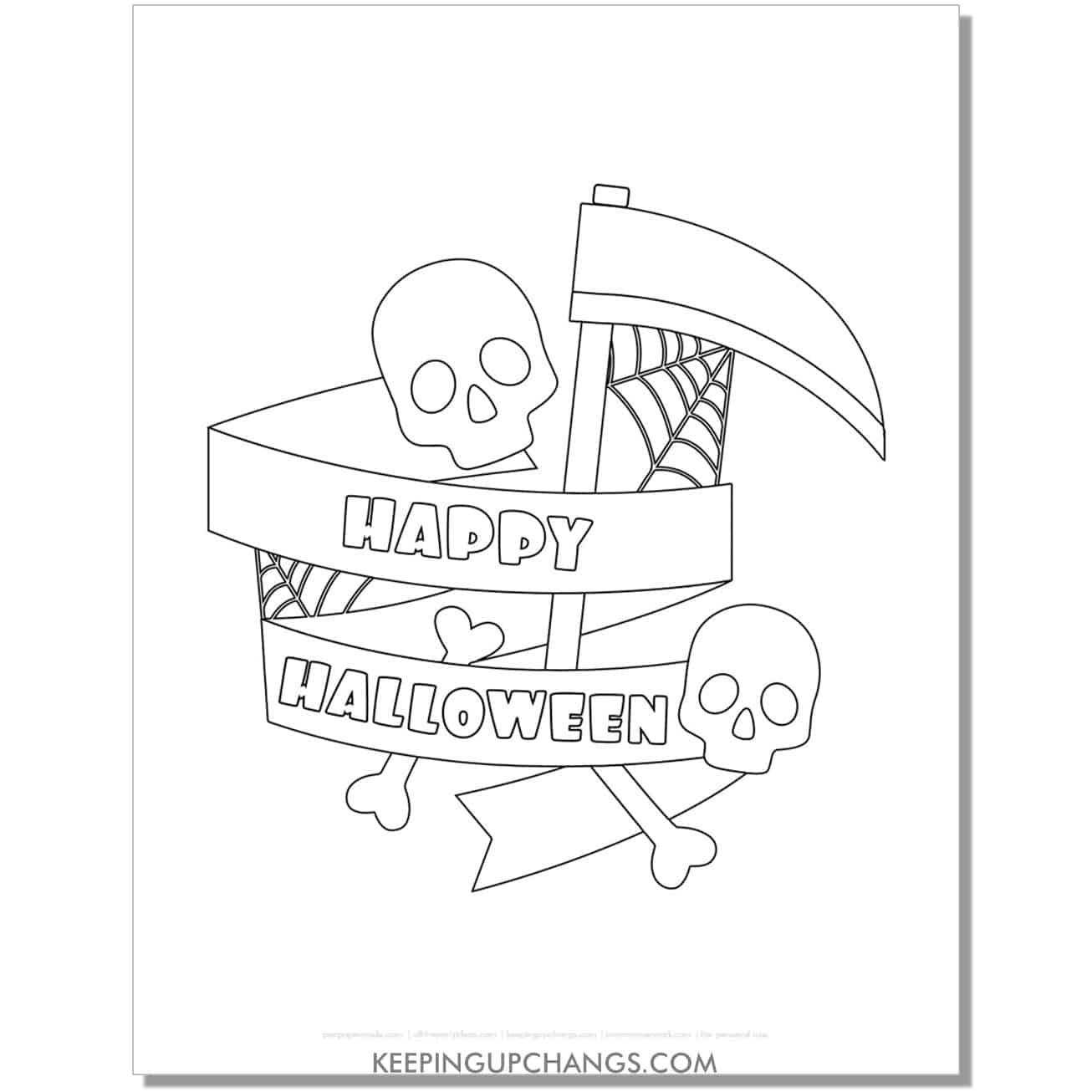 free skeleton grim reaper axe happy halloween coloring page.