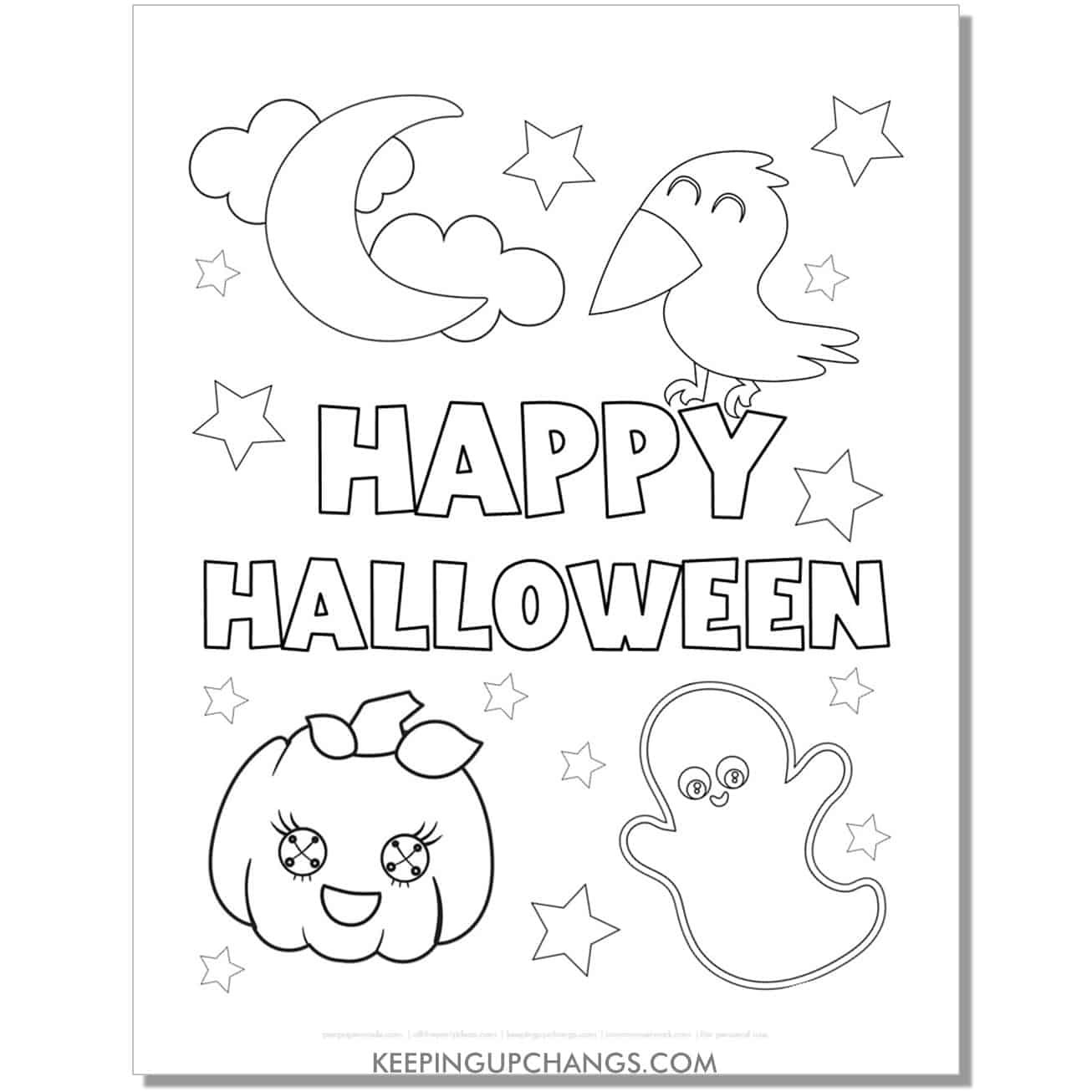 free happy halloween ghost, crow, moon, jack o lantern coloring page.