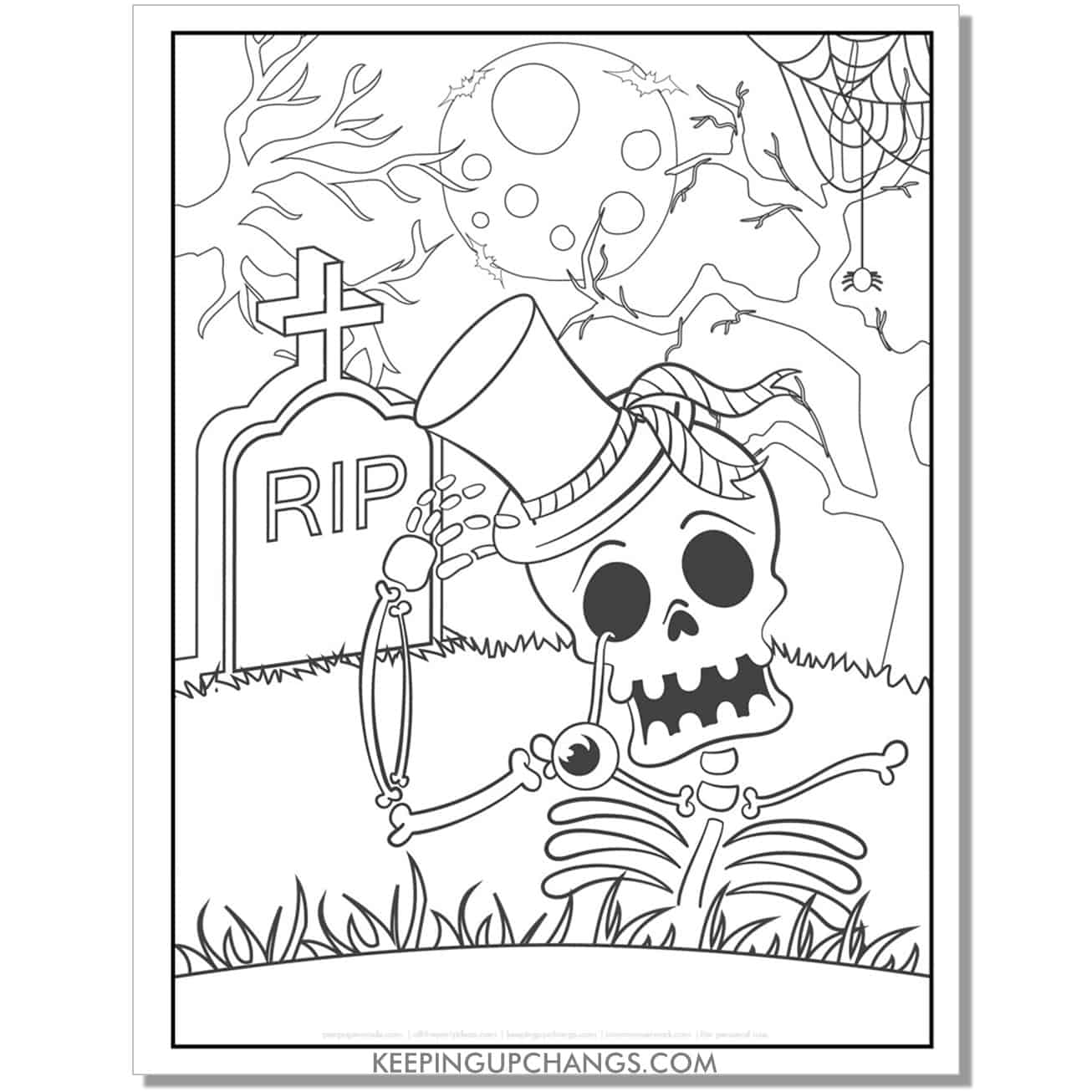 free friendly skeleton with top hat full size halloween coloring page.