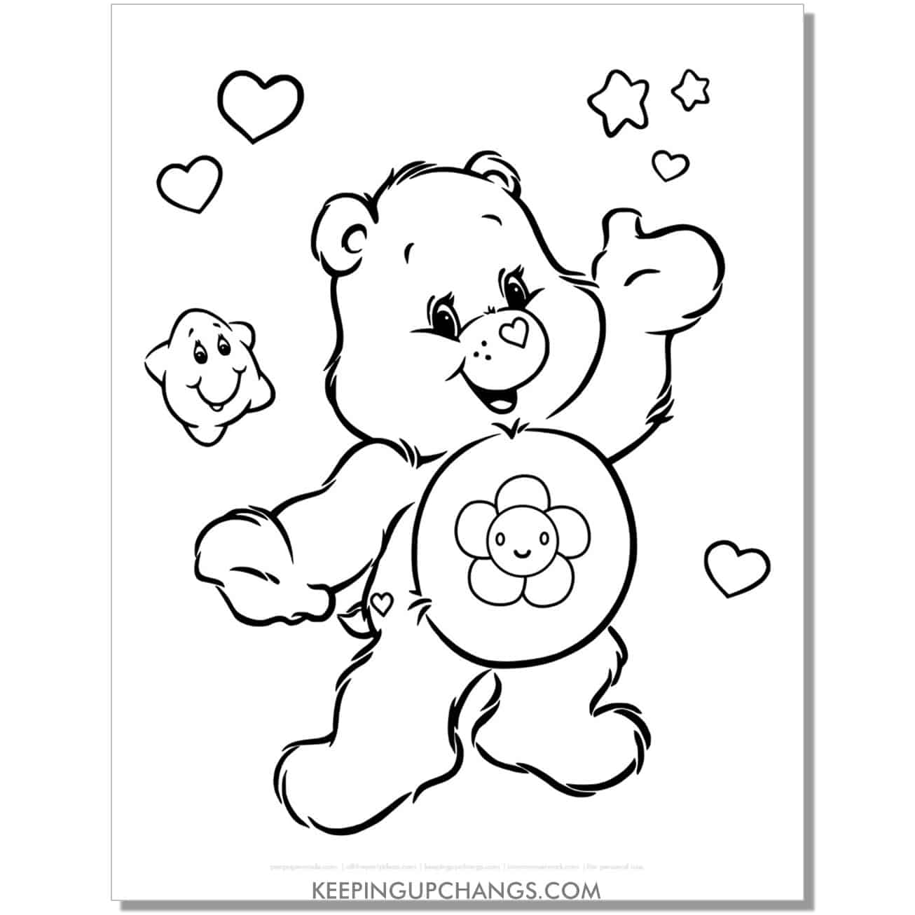 harmony care bear coloring page with stars and hearts.
