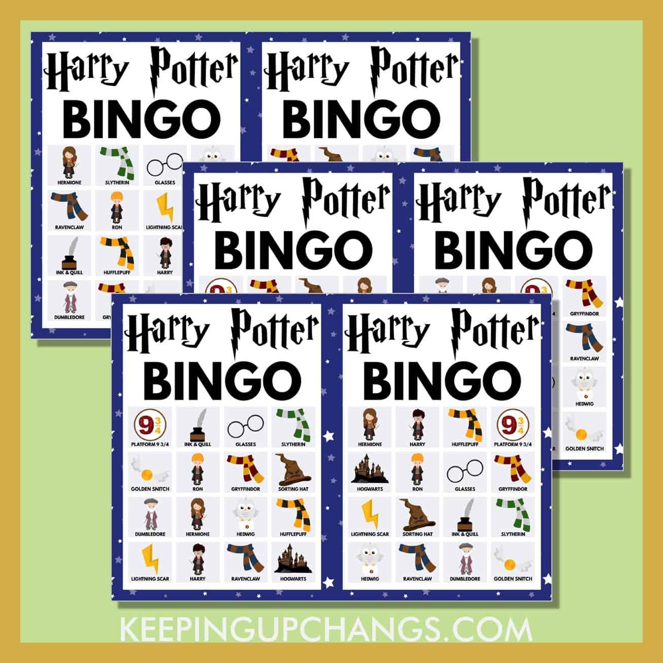 free harry potter bingo 4x4 game cards.