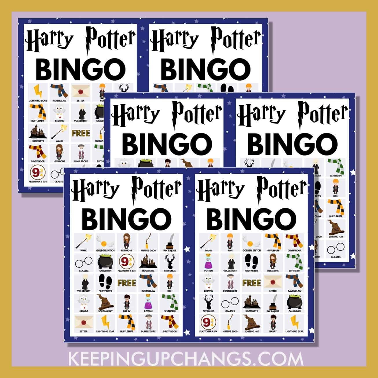 free harry potter bingo 5x5 game cards.