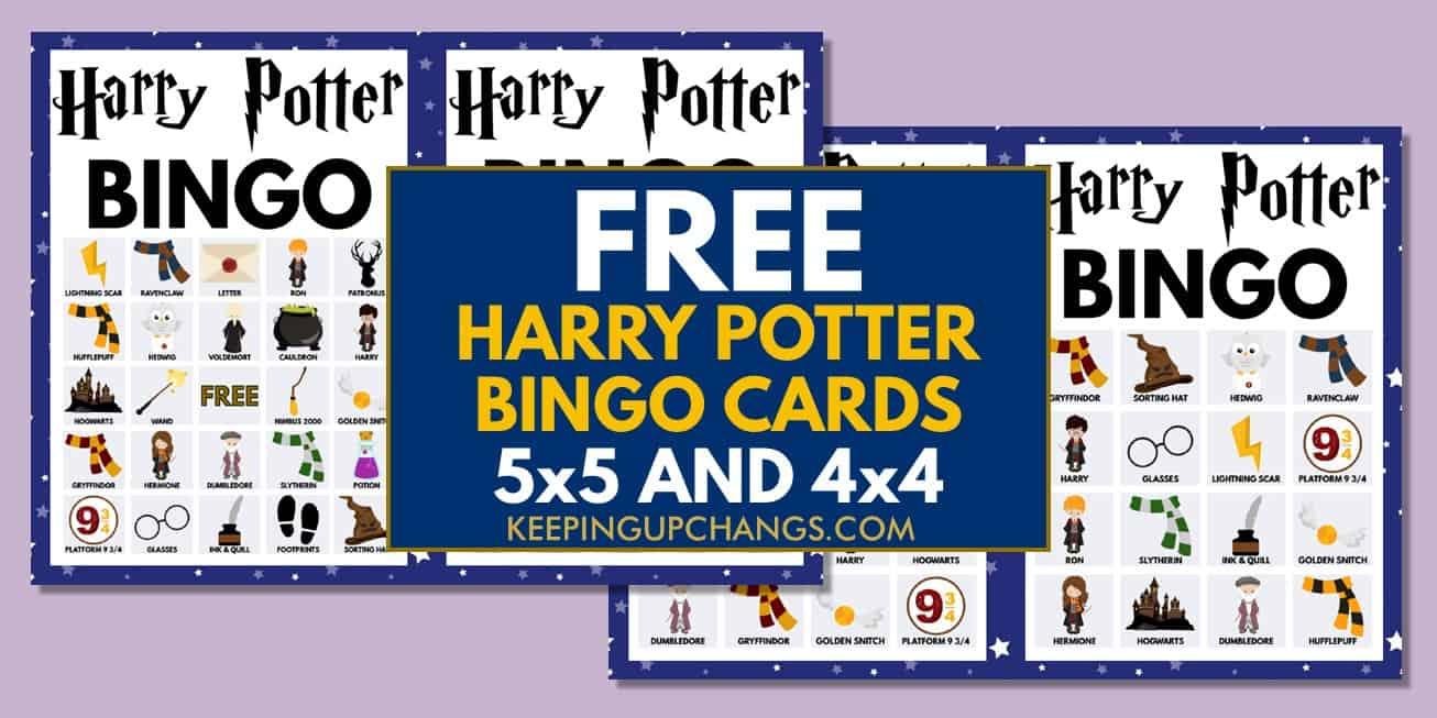 free harry potter bingo cards 5x5 4x4 for birthday party, wedding, baby shower.