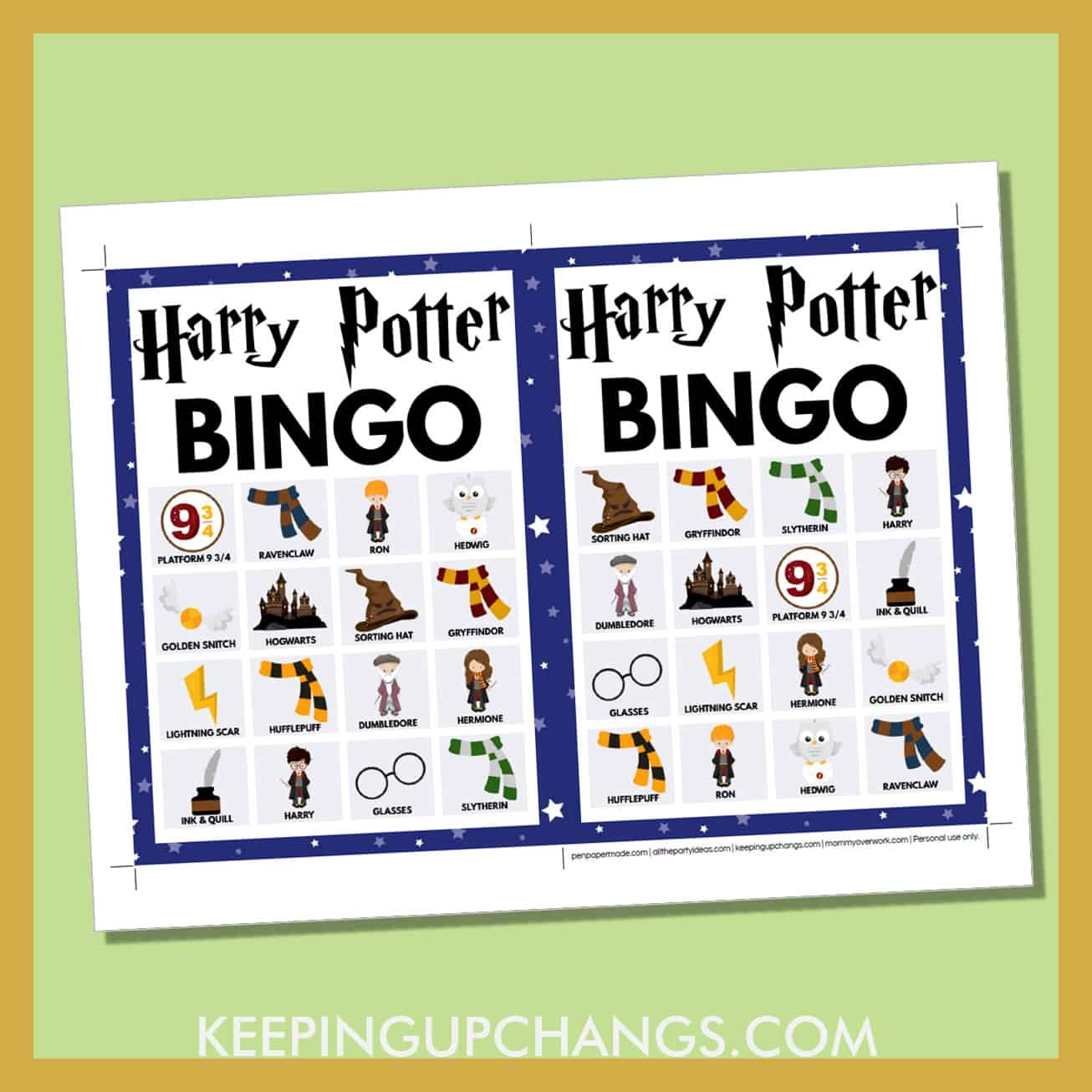 free harry potter bingo card 4x4 5x7 game boards with images and text words..