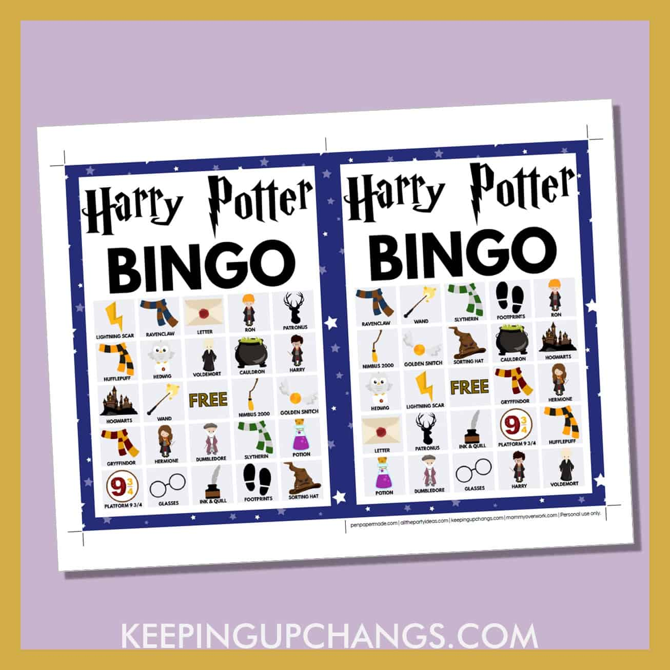 free harry potter bingo card 5x5 5x7 game boards with images and text words.