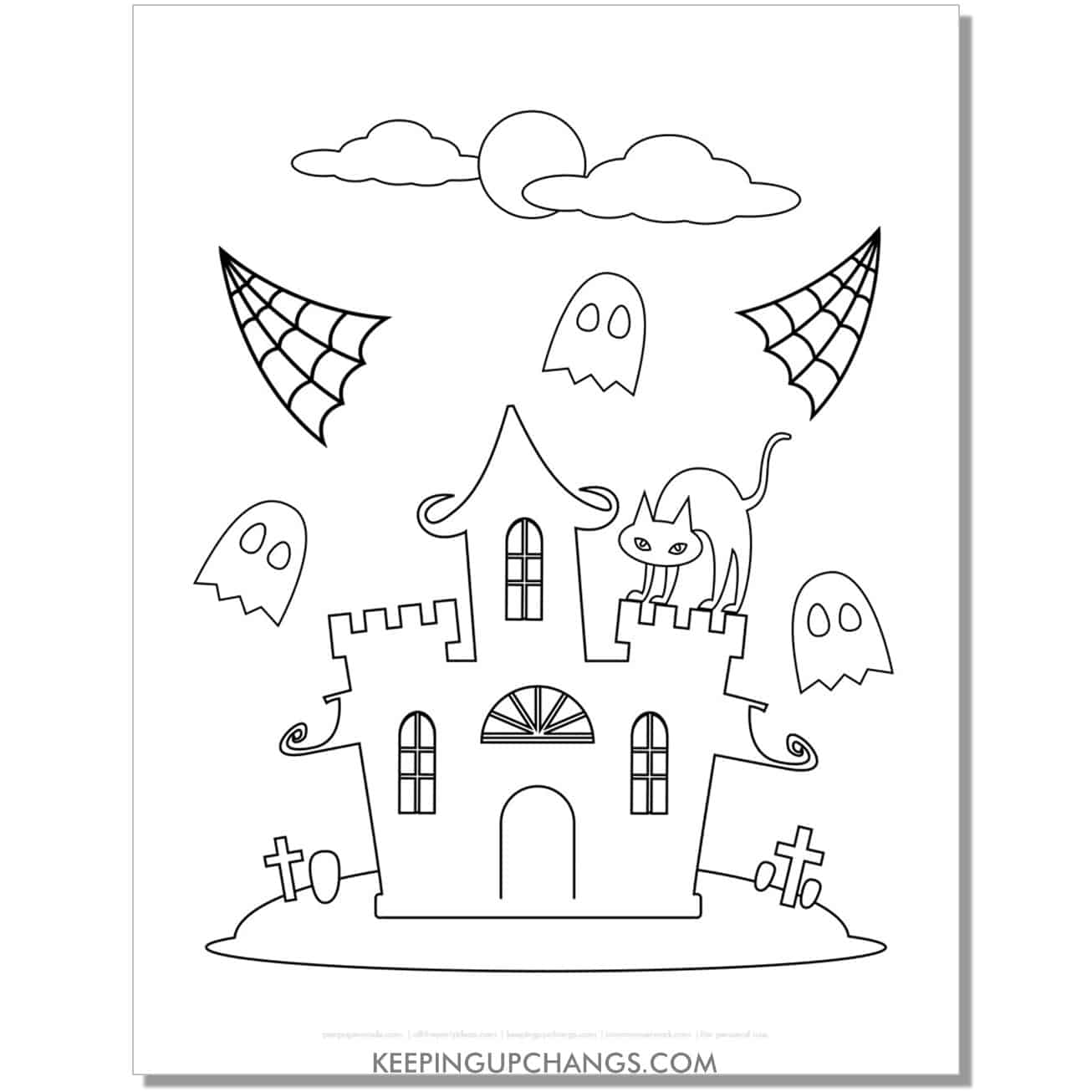 free haunted castle with black cat, ghosts, and spiderwebs coloring page.