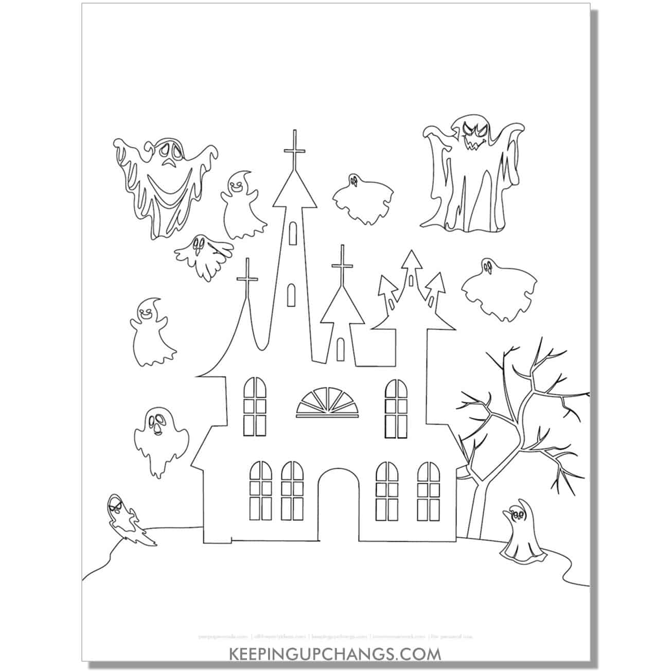 free haunted church with ghosts coloring page.
