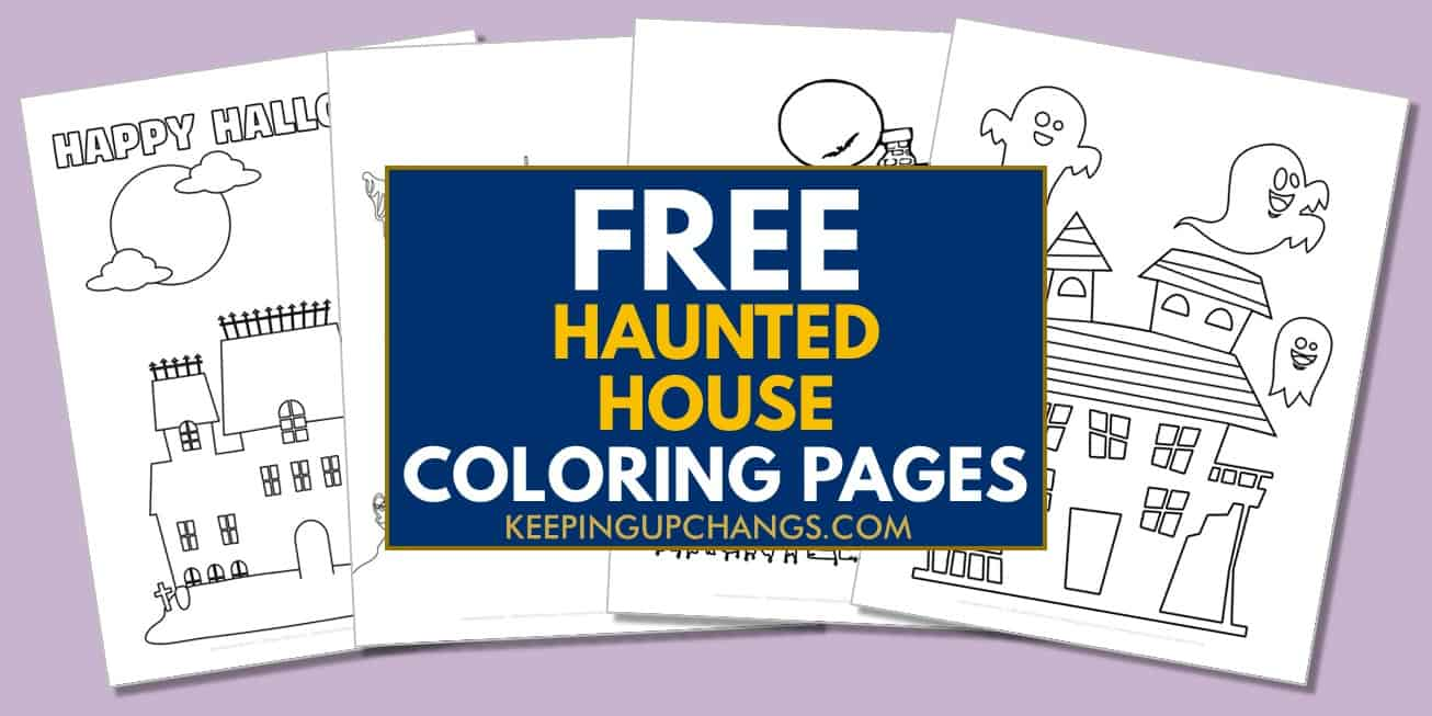 spread of free haunted house coloring pages.