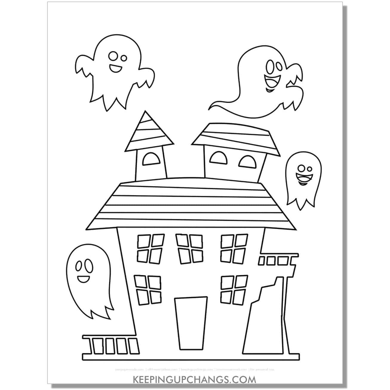 free funky haunted house with happy ghost coloring page.