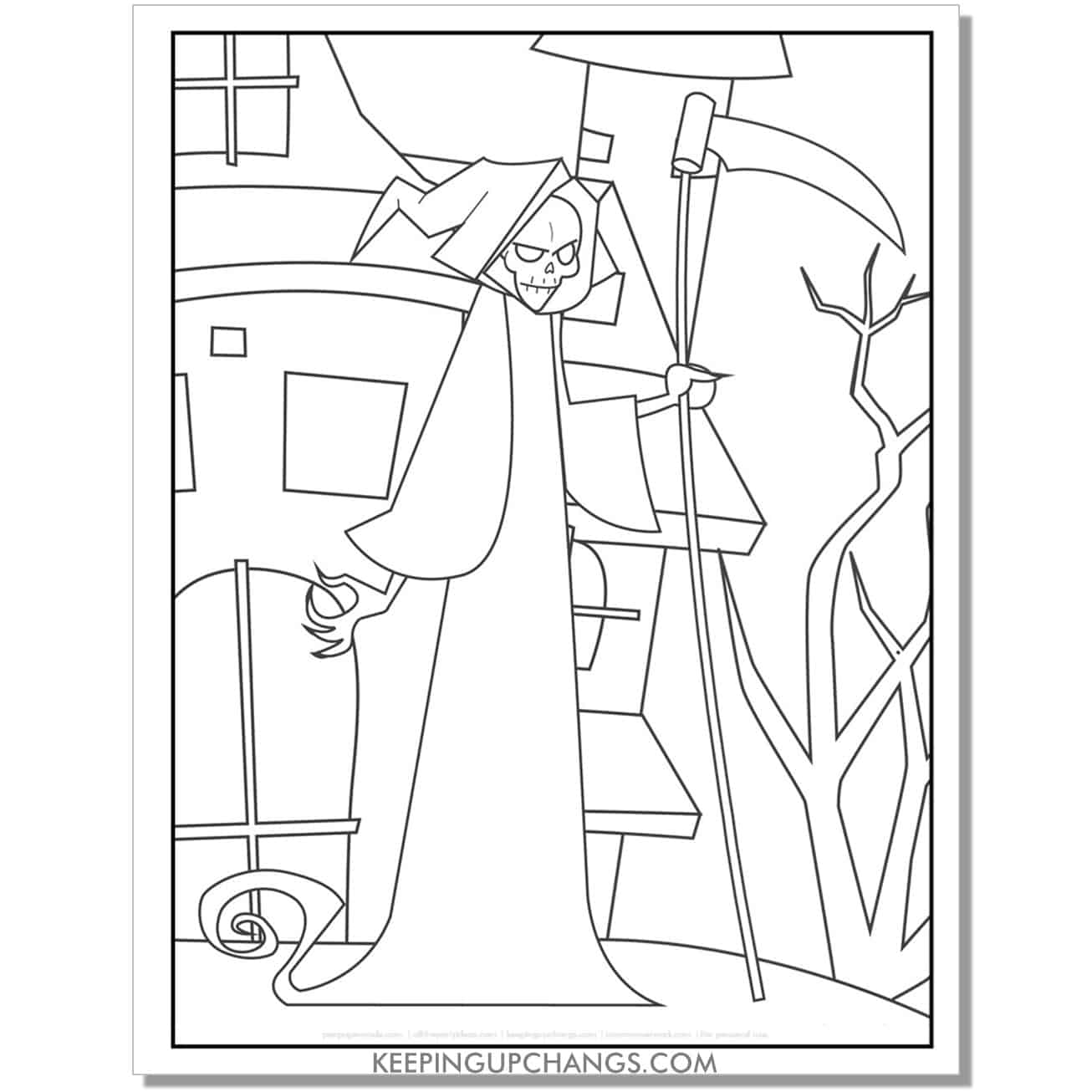 free grim reaper in front of haunted house coloring page.