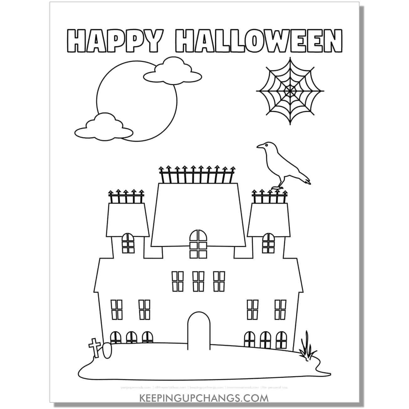 free happy halloween haunted house with crow coloring page.