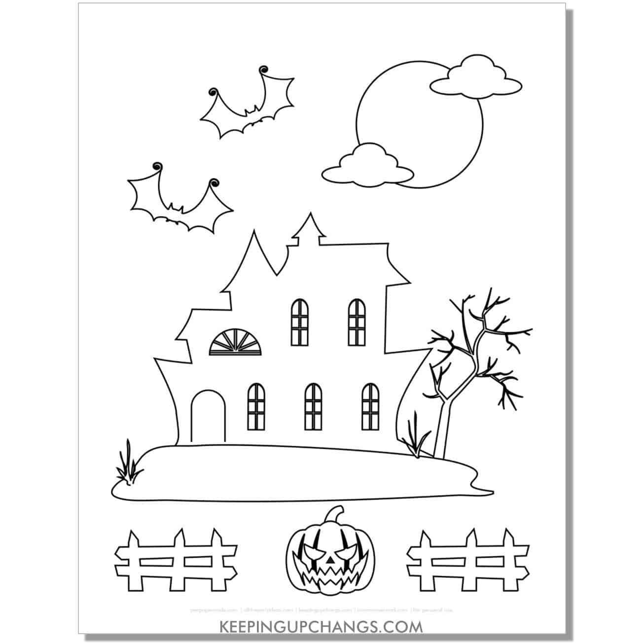 free simple haunted house outline with fence, batscoloring page.