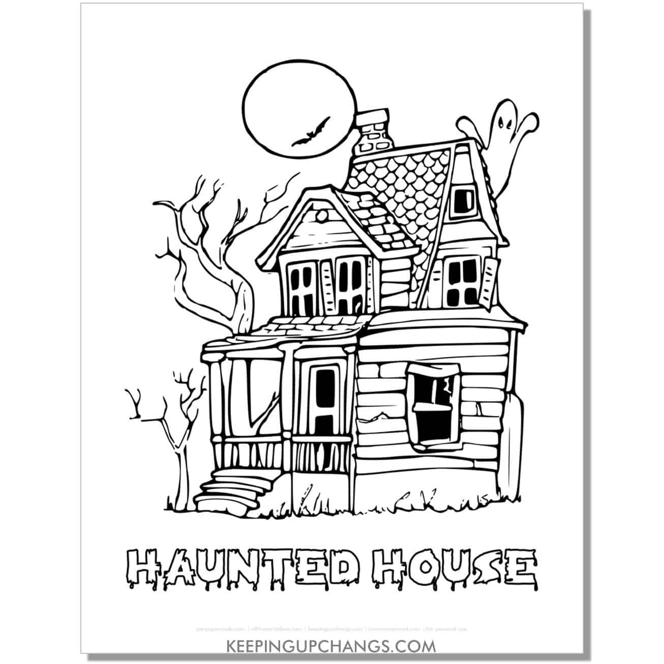 free vintage classic haunted house with ghost moon coloring page.