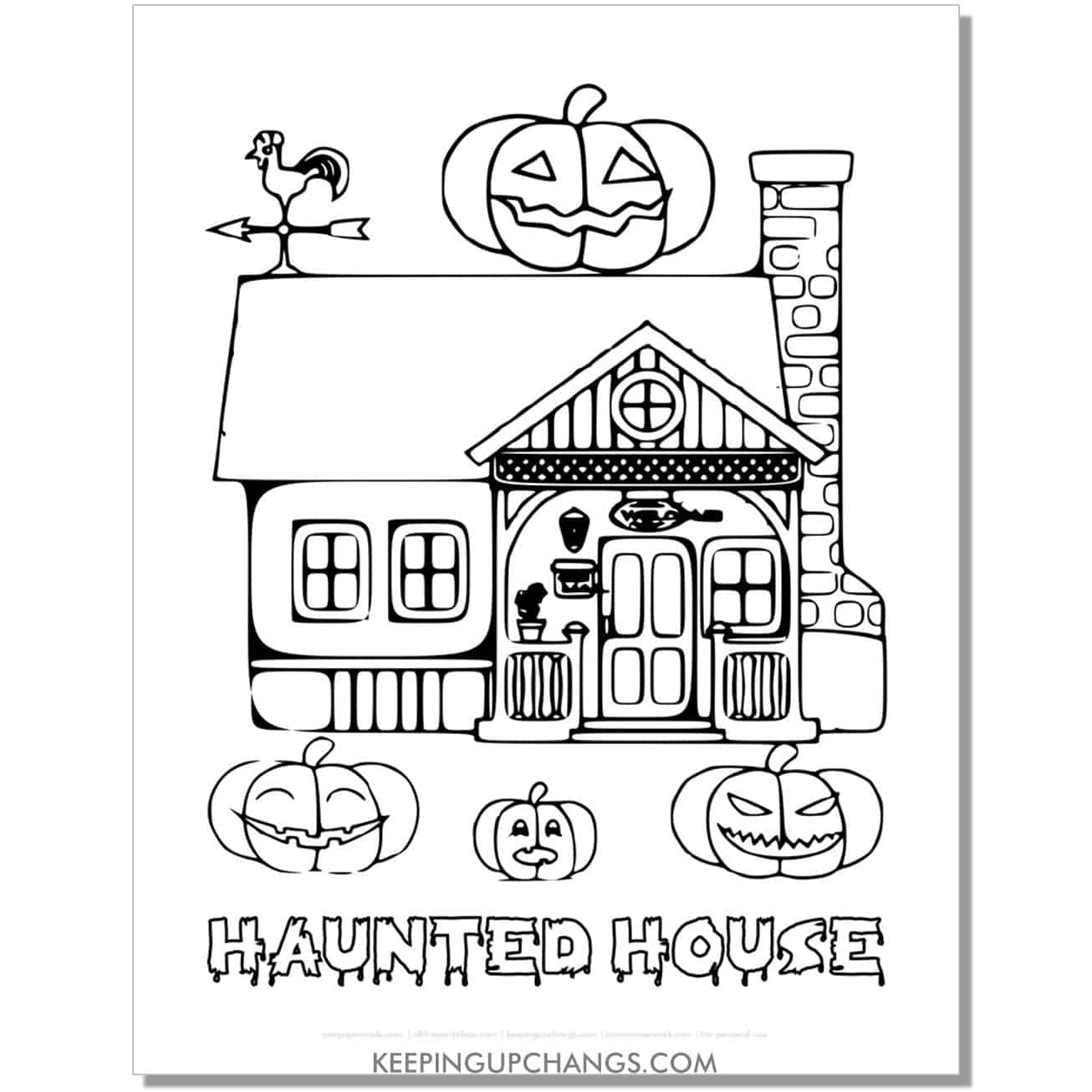 free old vintage haunted house jack o lantern coloring page.