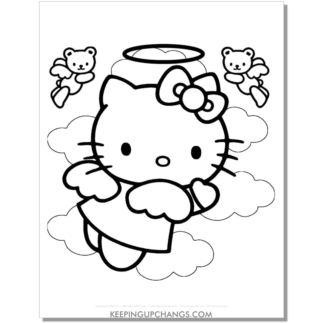 angel with halo hello kitty coloring page.