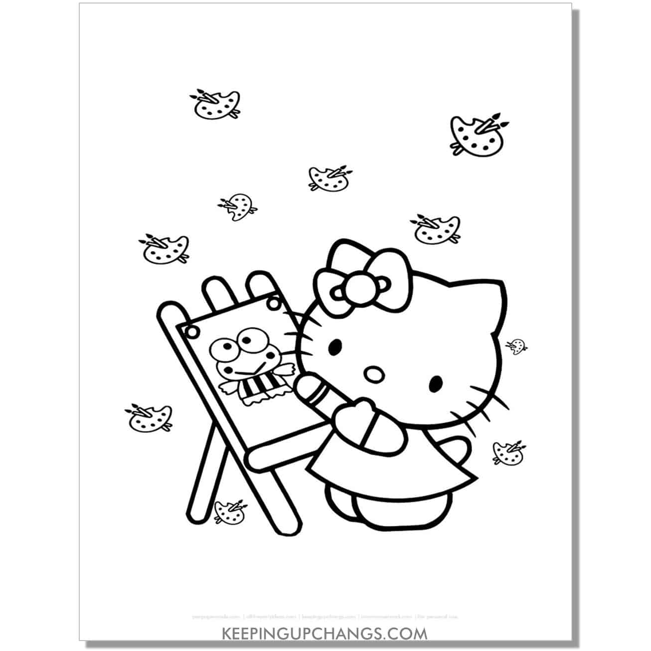 art easel hello kitty coloring page.