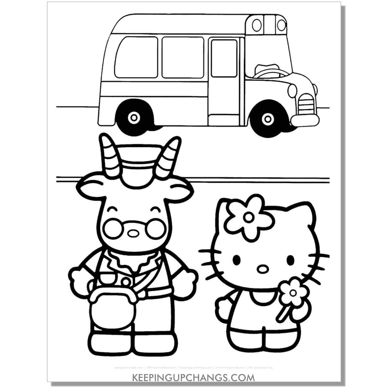 school bus hello kitty coloring page.